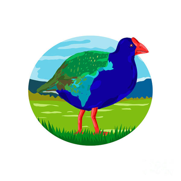 Wall Art - Digital Art - South Island Takahe Bird Oval Retro by Aloysius Patrimonio