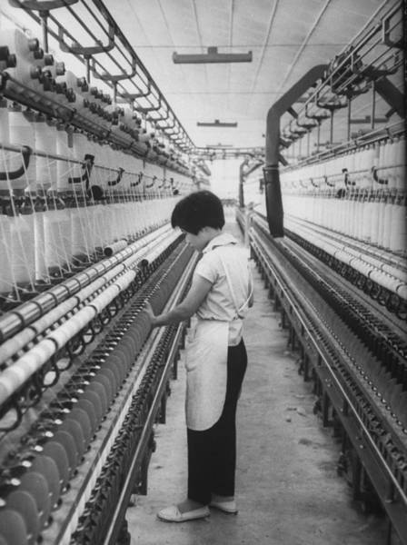 Textile Mill Photograph - South Vietnamese Woman Checking The Mach by John Dominis
