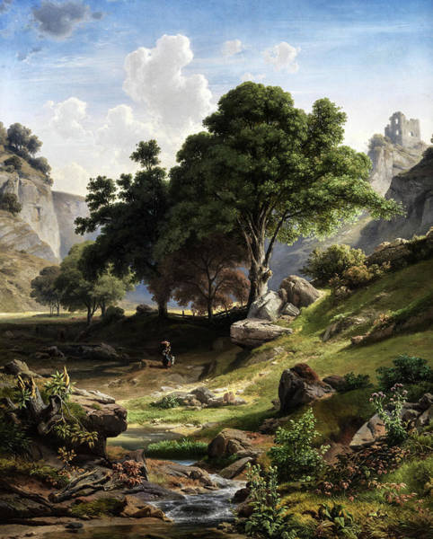 Painting - Southern Mountain Landscape With Castle Ruin by Adalbert Waagen