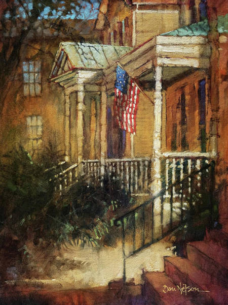 Porch Painting - Southern Porch And Sun by Dan Nelson