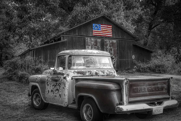 Photograph - Southern Vintage Black And White With Color Selected Flag by Debra and Dave Vanderlaan
