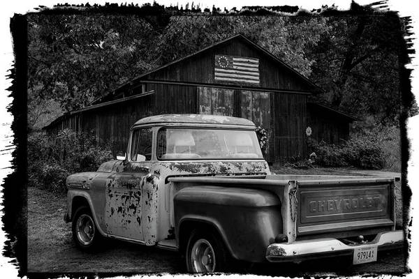 Wall Art - Photograph - Southern Vintage In Black And White Bordered by Debra and Dave Vanderlaan