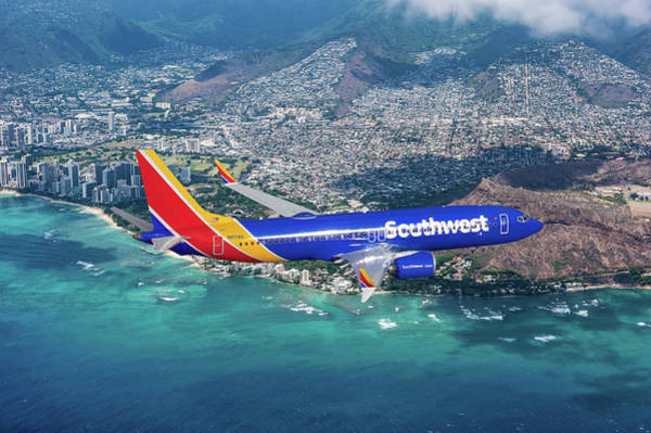Hawaii Mixed Media - Southwest Airlines Boeing 737 Max 8 Over Hawaii by Erik Simonsen