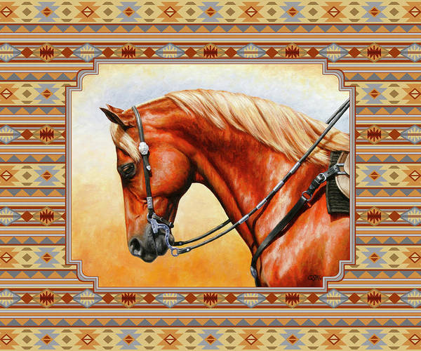 Wall Art - Mixed Media - Southwestern Quarter Horse Pillow by Crista Forest