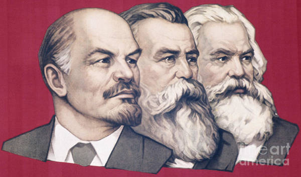 Communist Painting - Soviet Propaganda Banner With Likenesses Of Lenin, Engels, And Marx by Russian School