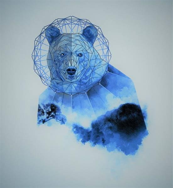 Mystic Digital Art - Space Blue Bear by ArtMarketJapan