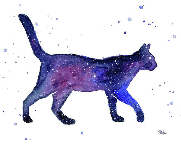 Night Painting - Space Cat by Olga Shvartsur