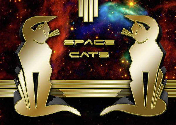 Digital Art - Space Cats - Gold by Chuck Staley