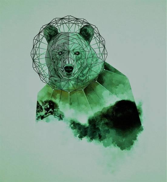 Mystic Digital Art - Space Green Bear by ArtMarketJapan