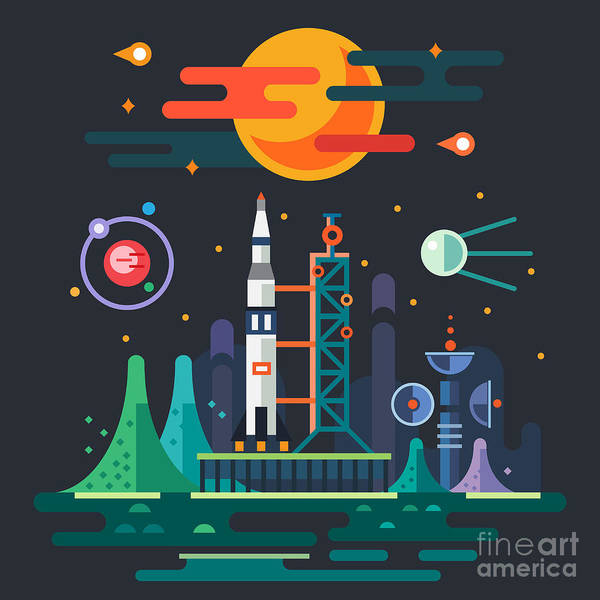 Fire Station Wall Art - Digital Art - Space Landscape, Rocket Launch On The by Beresnev
