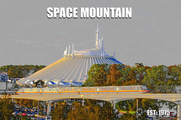 Disney World Digital Art - Space Mountain 1975 by David Lee Thompson