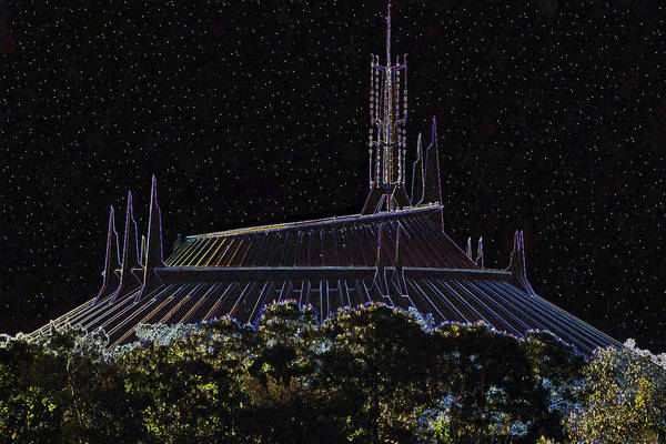 Disney World Digital Art - Space Mountain Dark Art by David Lee Thompson