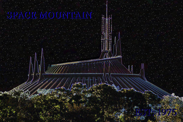 Disney World Digital Art - Space Mountain Dark Art Poster A by David Lee Thompson