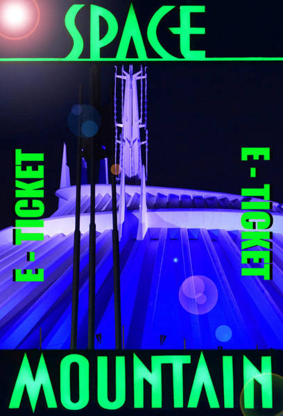 Space Mixed Media - Space Mountain E Ticket Poster by David Lee Thompson