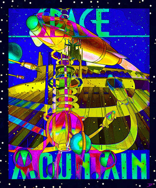 Wall Art - Mixed Media - Space Mountain Retro Cool Poster by David Lee Thompson