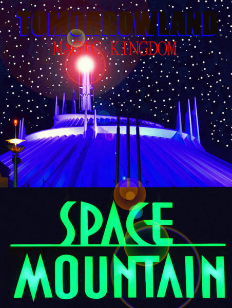 Wall Art - Digital Art - Space Mountain Retro Poster A by David Lee Thompson