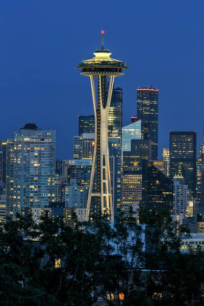 Photograph - Space Needle Blue Hour by Wes and Dotty Weber