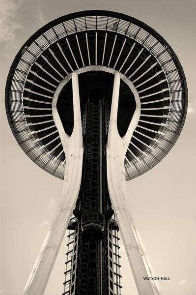 Negative Space Digital Art - Space Needle - Bypass Warm by Marlene Watson