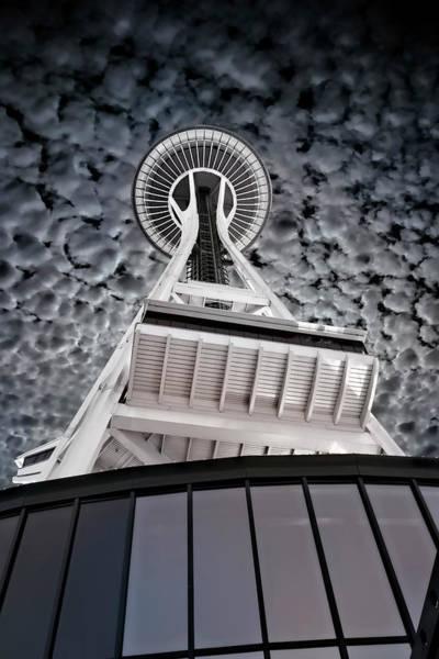 Wall Art - Photograph - Space Needle Popcorn Sky - Seattle by Daniel Hagerman