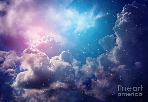 Expanse Photograph - Space Of Night Sky With Cloud And Stars by Nednapa
