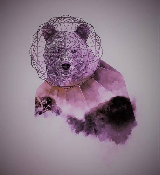 Mystic Digital Art - Space Purple Bear by ArtMarketJapan
