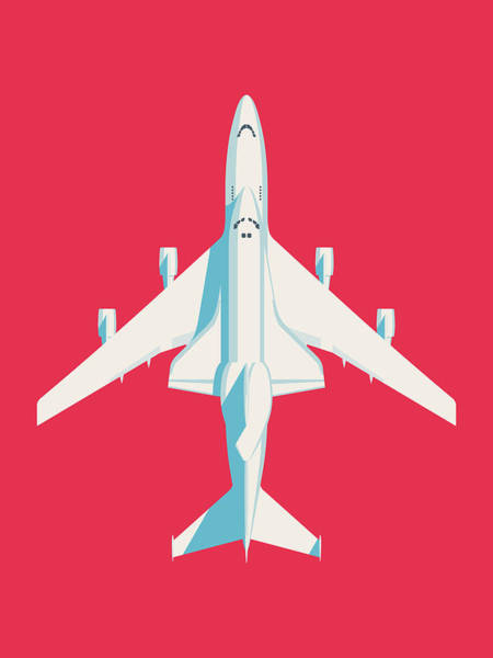Space Ship Digital Art - Space Shuttle And 747 Transport Jet - Crimson by Ivan Krpan