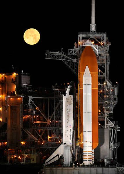 Wall Art - Digital Art - Space Shuttle And Moon by Filip Hellman