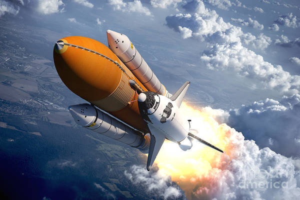 Spacecraft Wall Art - Digital Art - Space Shuttle Flying Over The Clouds by 3dsculptor
