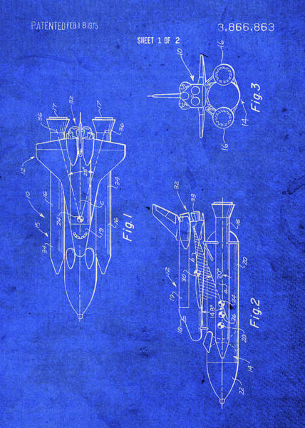 Wall Art - Mixed Media - Space Shuttle Nasa Vintage Patent Blueprint by Design Turnpike