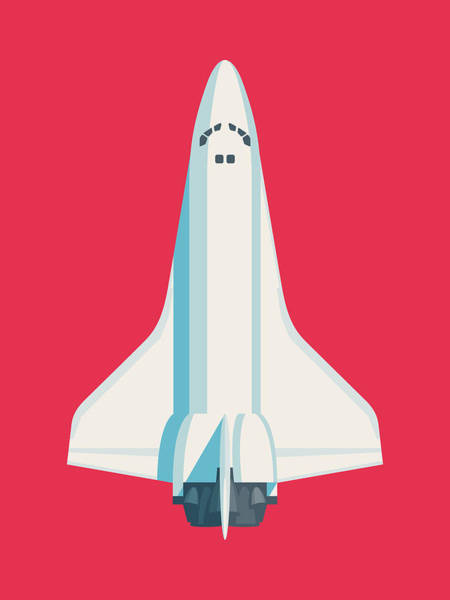 Space Ship Digital Art - Space Shuttle Spacecraft - Crimson by Ivan Krpan