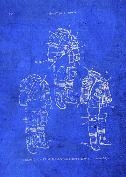 Wall Art - Mixed Media - Space Suit Astronaut Vintage Patent Blueprint by Design Turnpike