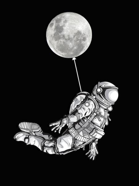 Painting - Space Travel Astronaut Universe Moon by Tony Rubino