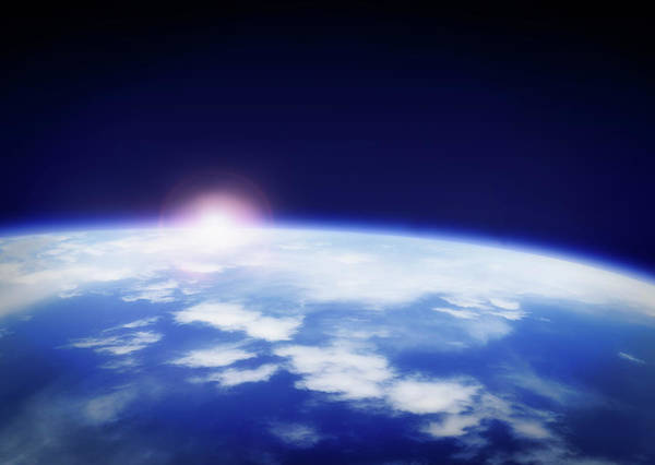 Stratosphere Wall Art - Photograph - Space With Rising Sun Above Planet Earth by Tetra Images