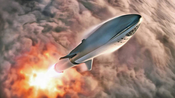 Wall Art - Digital Art - Spacex Bfr Big Falcon Rocket In Flight by Pic by SpaceX Edit by M Hauser