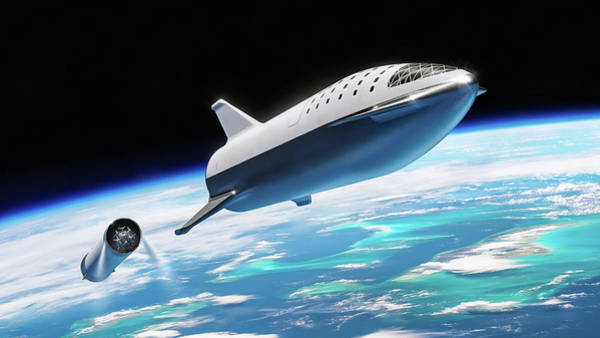 Digital Art - Spacex Bfr Big Falcon Rocket With Earth by Pic by SpaceX Edit by M Hauser