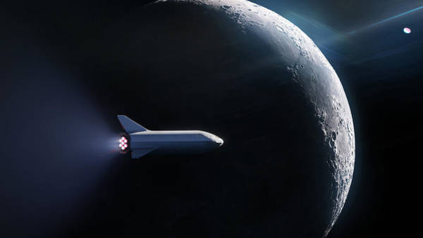Wall Art - Digital Art - Spacex Bfr In Orbit Around The Moon  by Filip Hellman