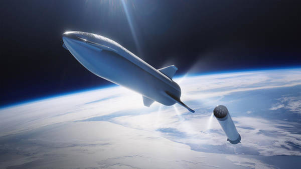 Wall Art - Digital Art - Spacex Bfr Leaving Earth by Filip Hellman