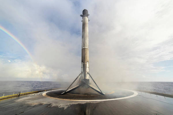 Wall Art - Digital Art - Spacex Booster And Rainbow by Filip Hellman