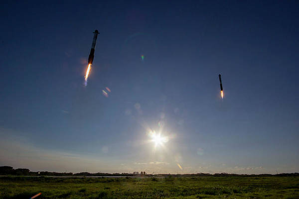 Arab Digital Art - Spacex Double Booster Landing by Filip Hellman