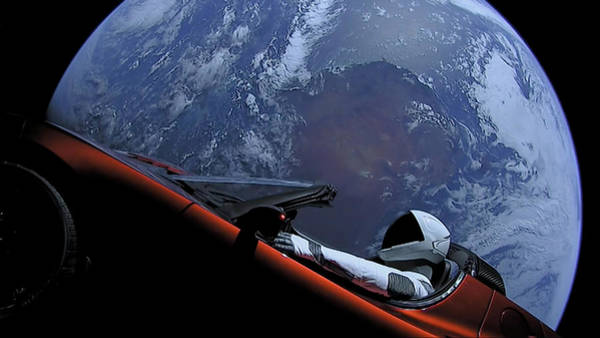 Wall Art - Digital Art - Spacex Driving Around Earth by Filip Hellman