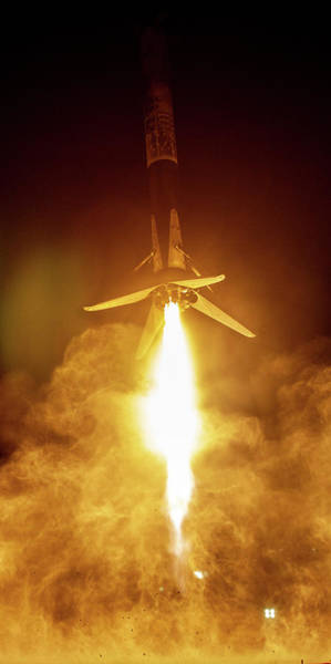 Wall Art - Digital Art - Spacex Falcon 9 Booster Landing At Night by Filip Hellman