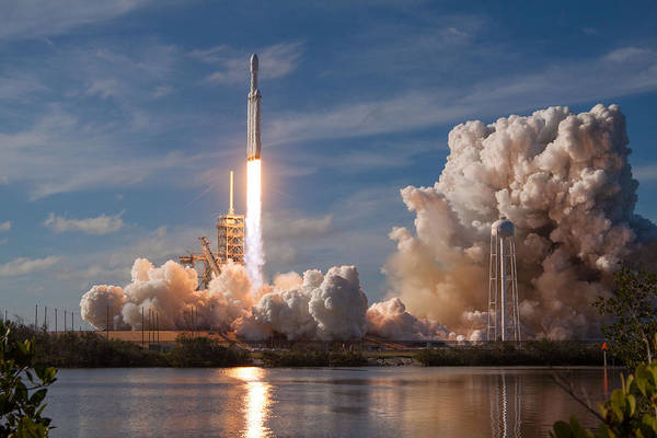 Wall Art - Digital Art - Spacex Falcon Heavy Demo Launch Lift Off by Filip Hellman