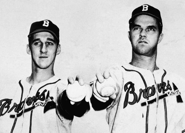Baseball Hall Of Fame Photograph - Spahn & Sain Of The Boston Braves by Hulton Archive