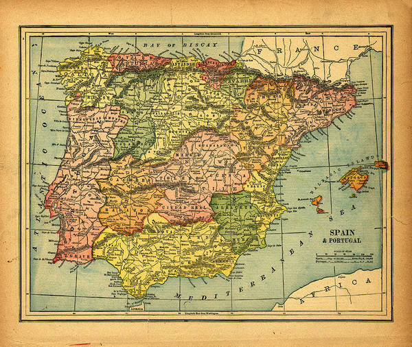 Coastline Photograph - Spain & Portugal Vintage Map by Belterz