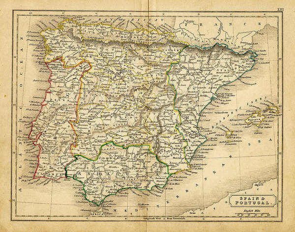 Patina Digital Art - Spain And Portugal Map 1820 by Thepalmer