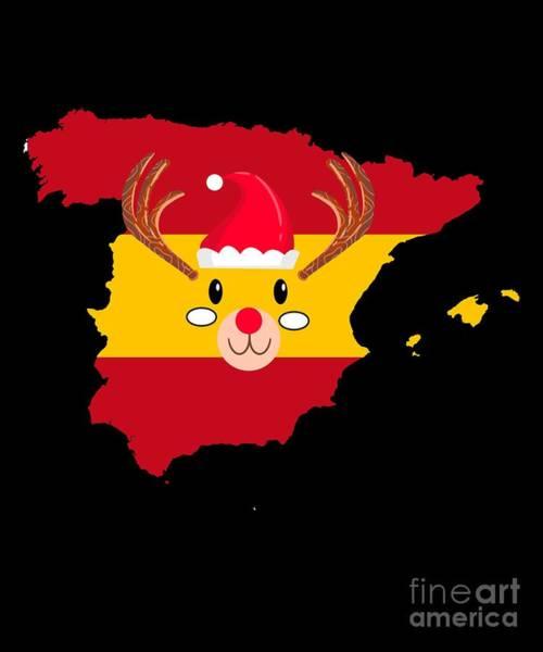 Ugly Digital Art - Spain Christmas Hat Antler Red Nose Reindeer by TeeQueen2603
