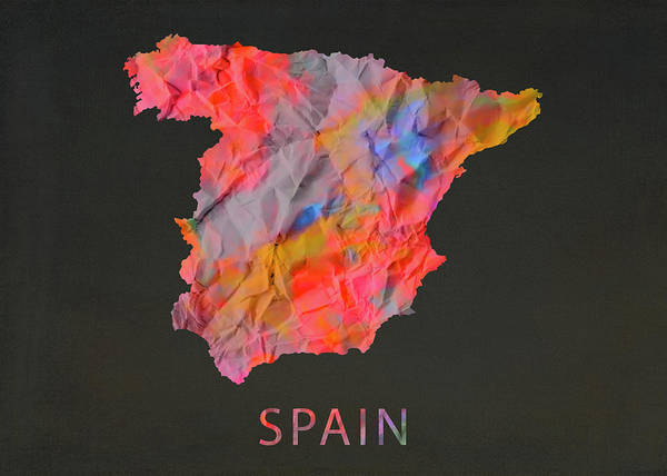 Wall Art - Mixed Media - Spain Tie Dye Country Map by Design Turnpike