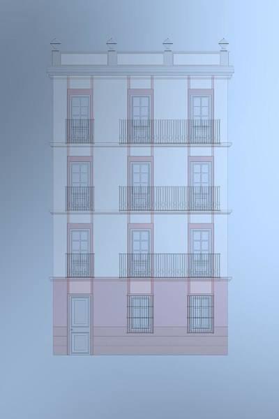 Digital Art - Spanish Architecture On Blue Background by Alberto RuiZ