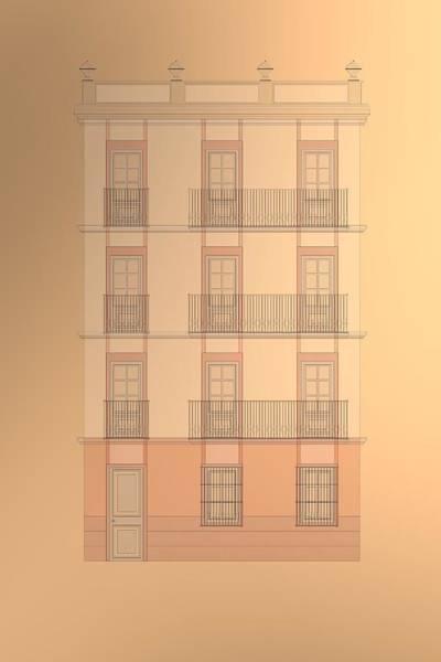 Digital Art - Spanish Architecture Over Cooper Background. by Alberto RuiZ