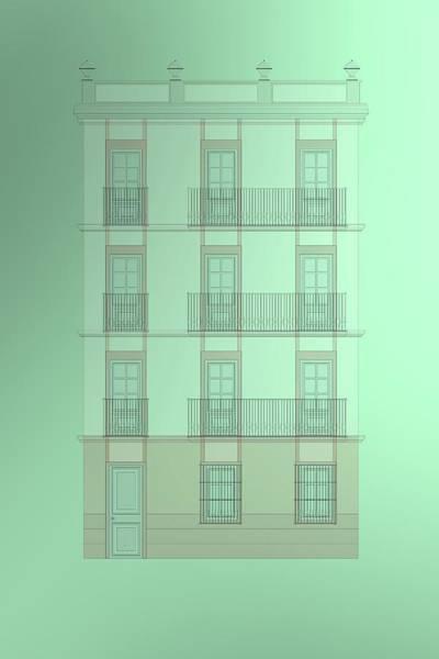 Digital Art - Spanish Architecture Over Green Background. by Alberto RuiZ